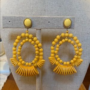 Yellow beaded drop earrings